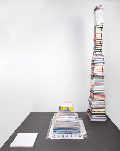 78 Years , 2015, dimensions variable. custom printed 78 page notepad, 78 calendars, 78 planners  A 78 page notepad is placed beside 78 stacked calendars and 78 stacked yearly planners, to play with conceptions of time and the average American life span of 78 years. Dimensions variable