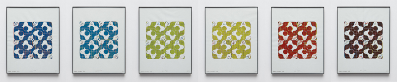 "DHF: Four Square Suite    2015   Set of 6 Linocut Prints   Each 14"" by 11"""