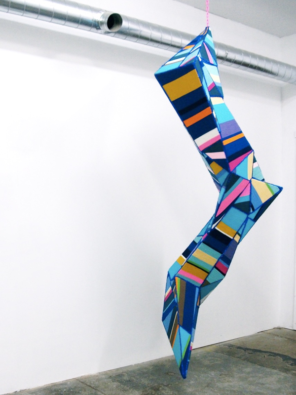 Blue Lightning , 2012, Yarn, Foamcore, Thread, Trim, Plastic Chain, 10'X3'X4'