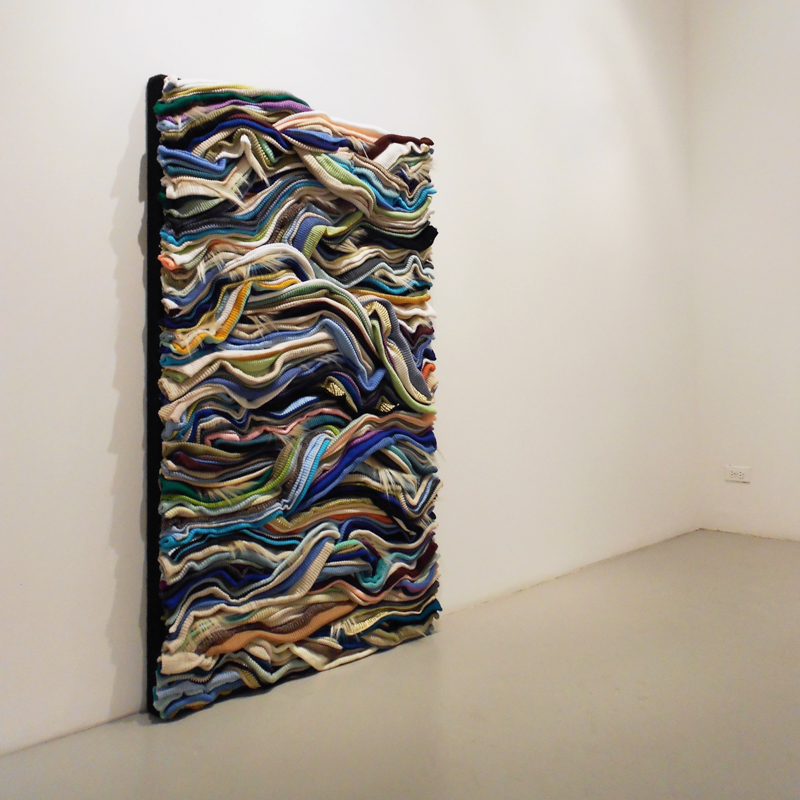 "Untitled , 2012, Yarn and Human Hair on Masonite Panel, 36""X60"""