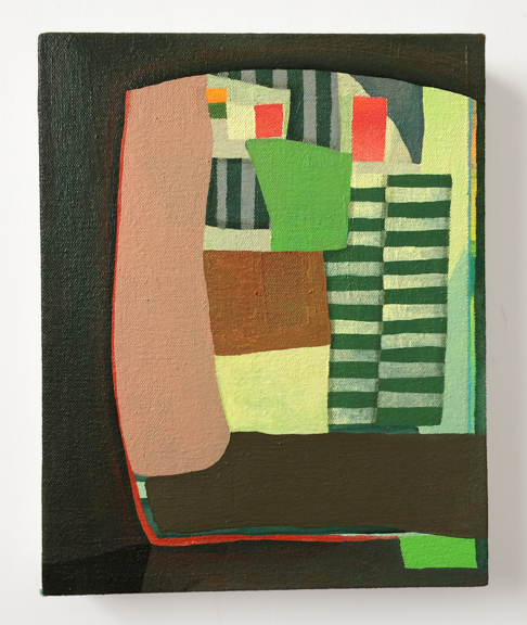 Untitled (Brown Green),  2015. Acrylic on Canvas over Panel 10 x 8 in. ches
