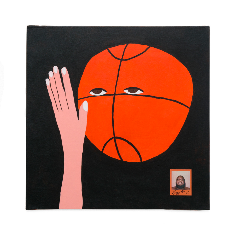 Nothing but net,  2016 Acrylic and Polaroid on canvas 30 x 30 in