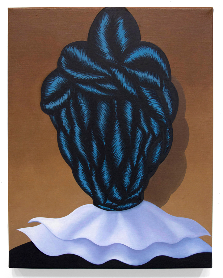 Braid Head , 2016. Acrylic and oil on canvas, 18 x 14 inches