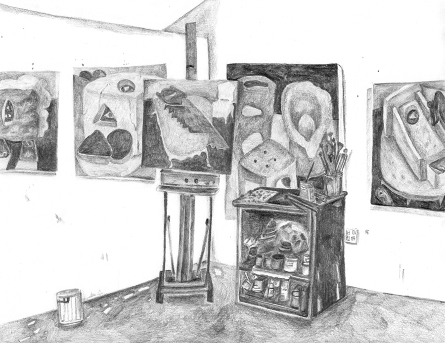 "Ginny Casey's Studio , 2016, pencil on paper, 8.5"" x 11"""