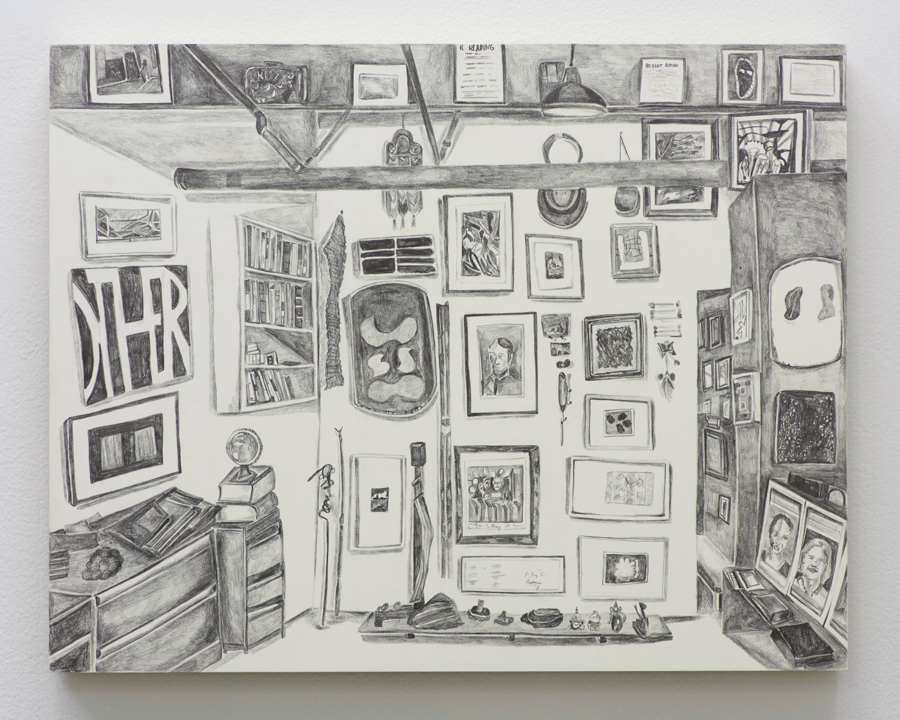 "Brooklyn Rail Collection , 2015, pencil on claybord panel, 11"" x 14"""