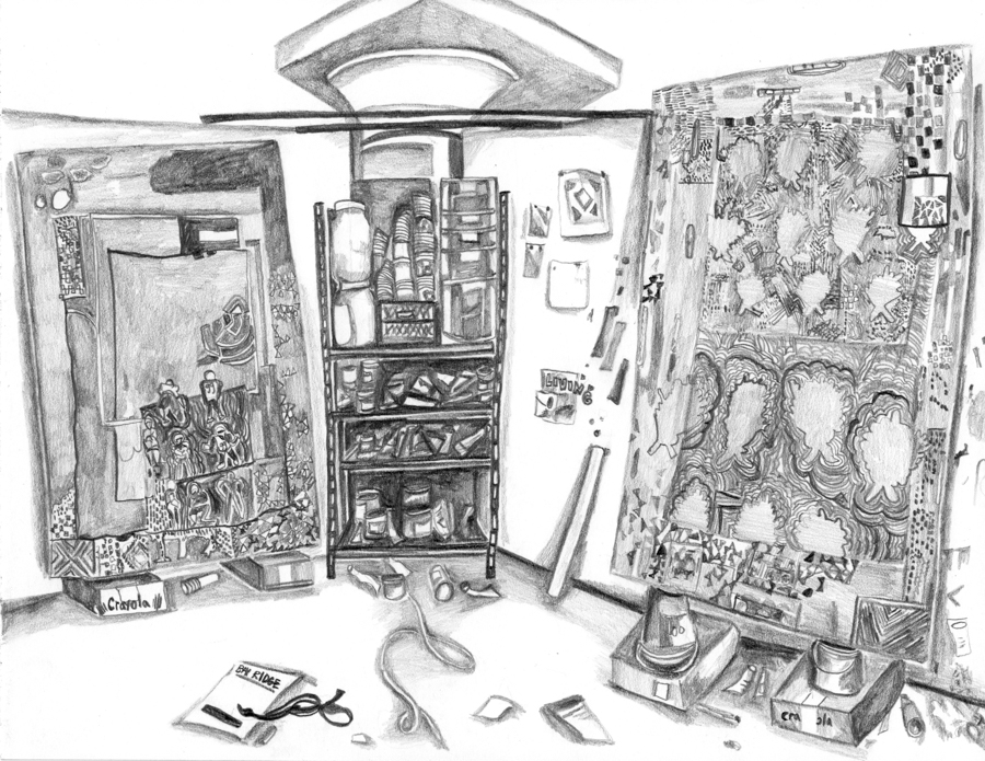 "Paul DeMuro's Studio , 2016, pencil on paper, 8.5"" X 11"""