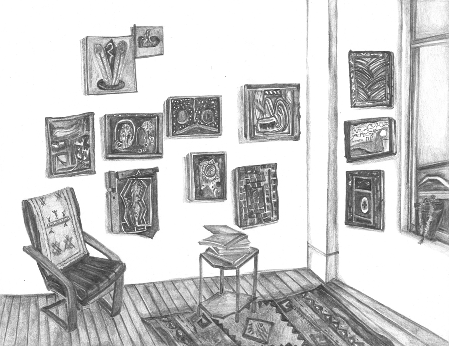 "Yevgeniya Baras' Studio , 2016, pencil on paper, 8.5"" X 11"""