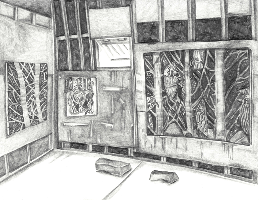 "Ryan Schneider's Studio , 2016, pencil on paper, pencil on paper, 8.5"" x 11"""