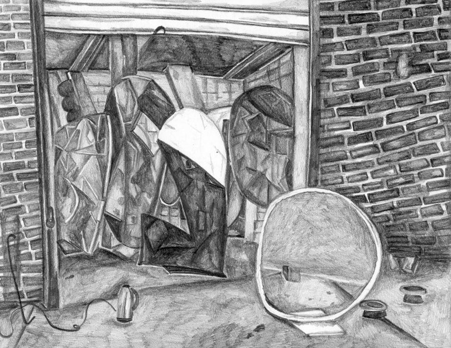 "Fabienne Lasserre's Studio , 2016, pencil on paper, pencil on paper, 8.5"" x 11"""