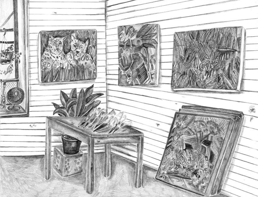 "Caroline Larsen's Studio , 2016, pencil on paper, pencil on paper, 8.5"" x 11"""