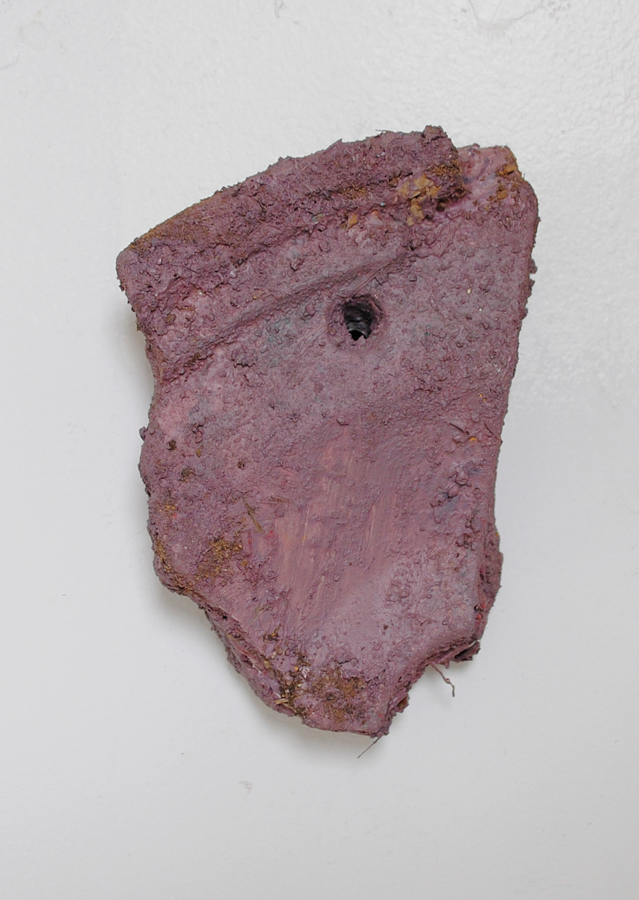 soil , 2015, acrylic on found plaster with soil, 5.5 x 4 x 1.5 inches