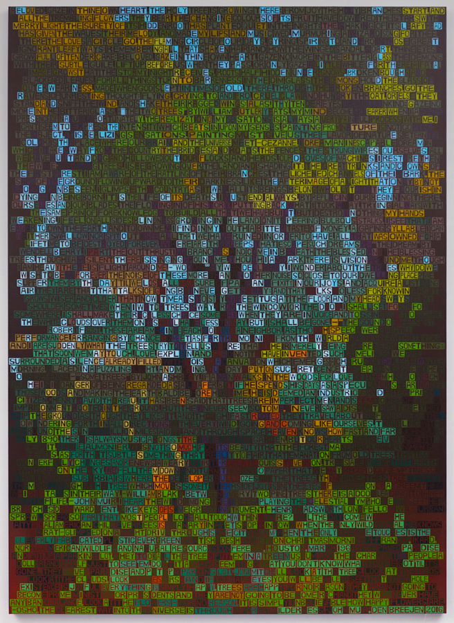 Forest Interior , 2016, acrylic on linen, 78 x 56 inches