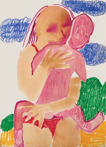 Daughters,  2016, watercolor, marker, pastel on paper, 15 x 11 inches