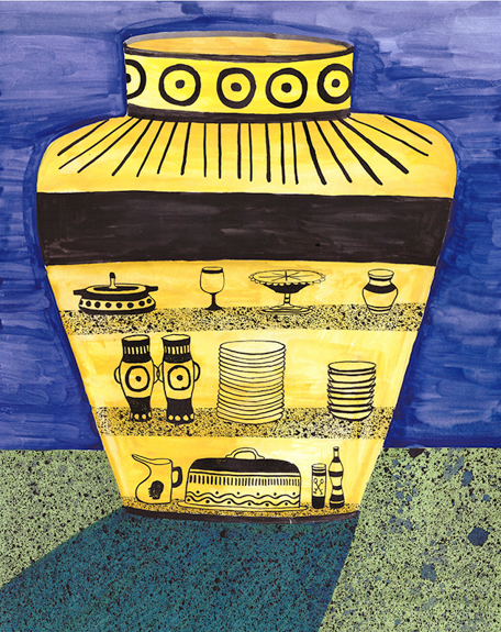 Urn (Cabinet) , 2016, Marker, Water Color, and Ink on Paper, 11 x 14 inches