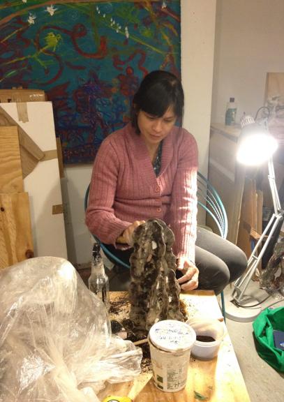 Elisa at work in her studio.