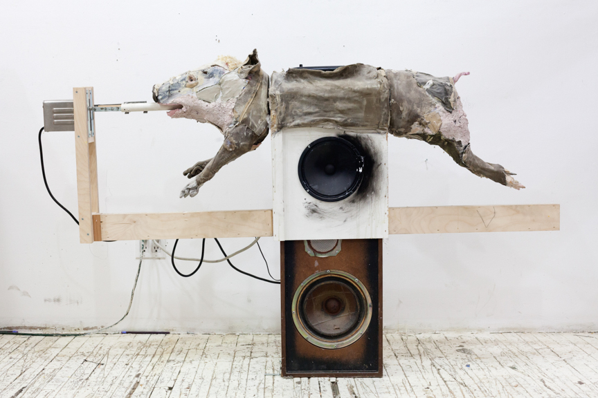 Electrical Rotisserie Pig Drum , 2017, Mixed media, 60 x 20 x 30""