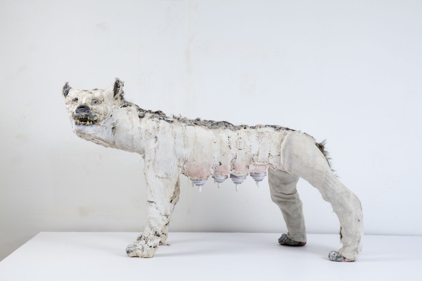 She Wolf (Party Wolf) , 2015, Mixed media, 50 x 20 x 30""