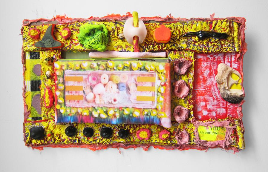 Control F , 2017, Faux fur, collage, acrylic, cardboard, 13'' x 22'' x 3''