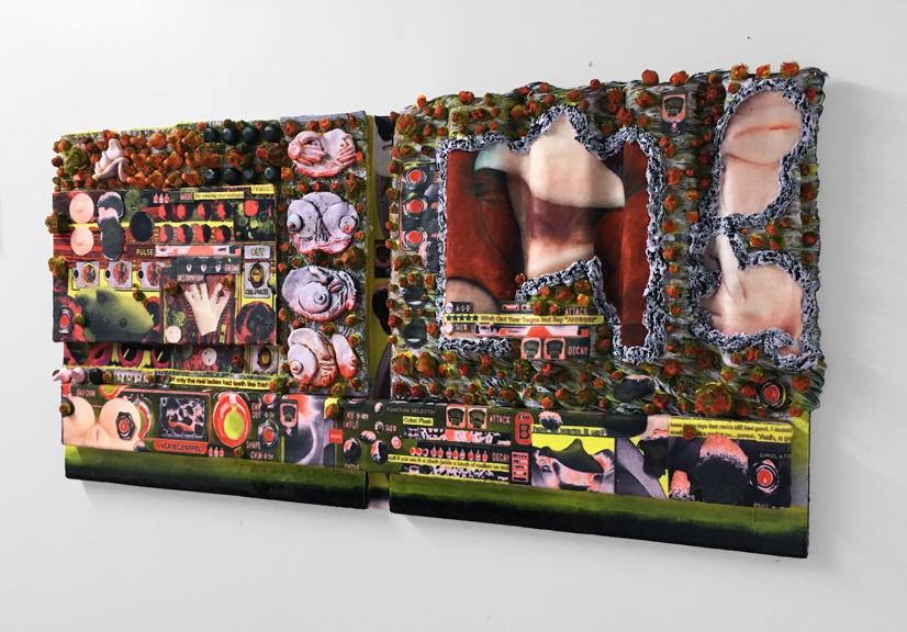Mutate , 2017, Faux fur, acrylic, collage, resin, 27'' x 48'' x 5''