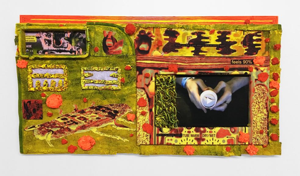 Manual , 2017, Faux fur, acrylic, collage, resin, 27'' x 48'' x 4''