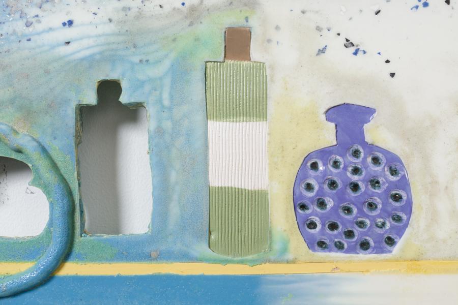 Seven Skins (detail), 2016 Urethane, alabaster, glazed ceramic, pigment, filler 38¾ x 23¾ x ½ inches