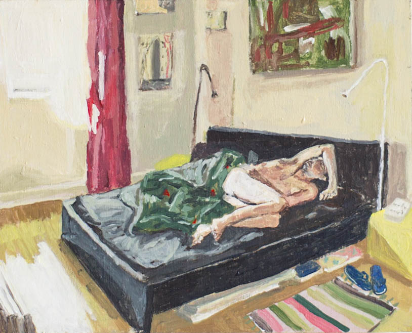 Alex sleeping,  2017, acrylic on panel, 8 in x 10 in