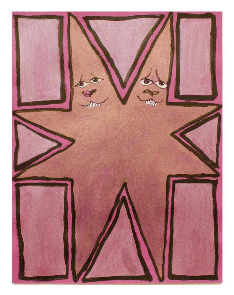 Untitled (Starmen) , 2016 ink, marker and acrylic on paper 11 x 8 1/2 inches