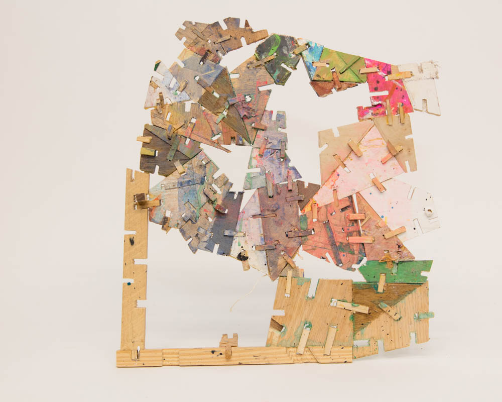 Home is a Foreign Country-Safe House-Unravelling Developments , 2017. Egg tempera and pigment on constructed wood, chest size.