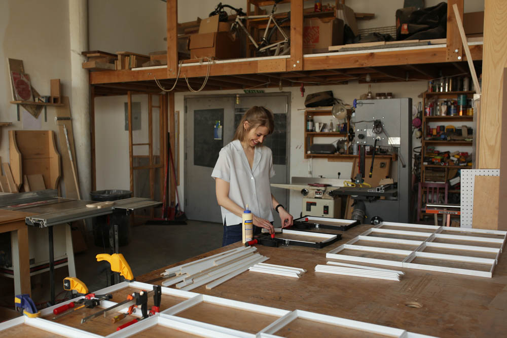 Christine at work in her studio. Photo by Sol Erez.