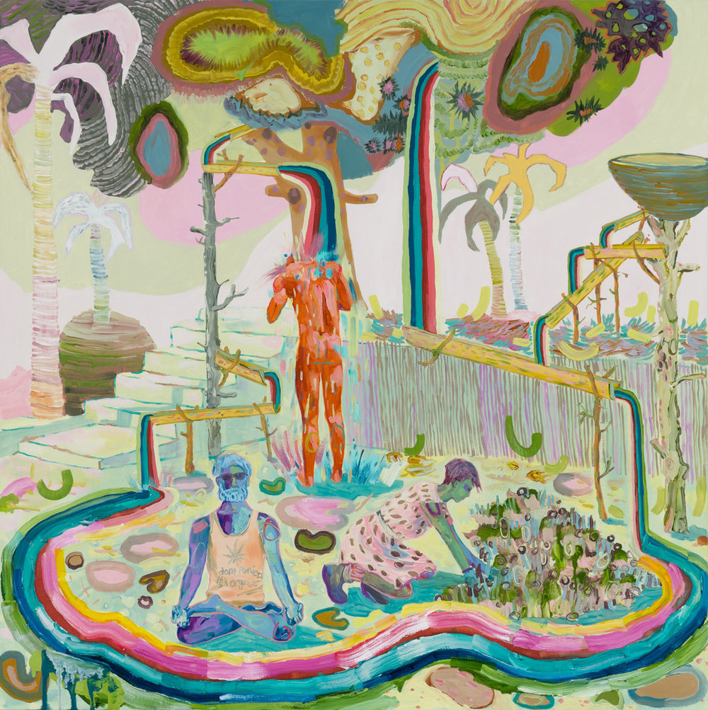 Melanie Daniel  Rainbow Colony , 2018 Oil on canvas 35 x 35 in
