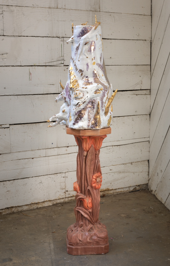 Gold and White Unicorn Vessel , 2017. Glazed ceramic on found plaster pedestal, 52 1/4 × 14 × 16 inches.