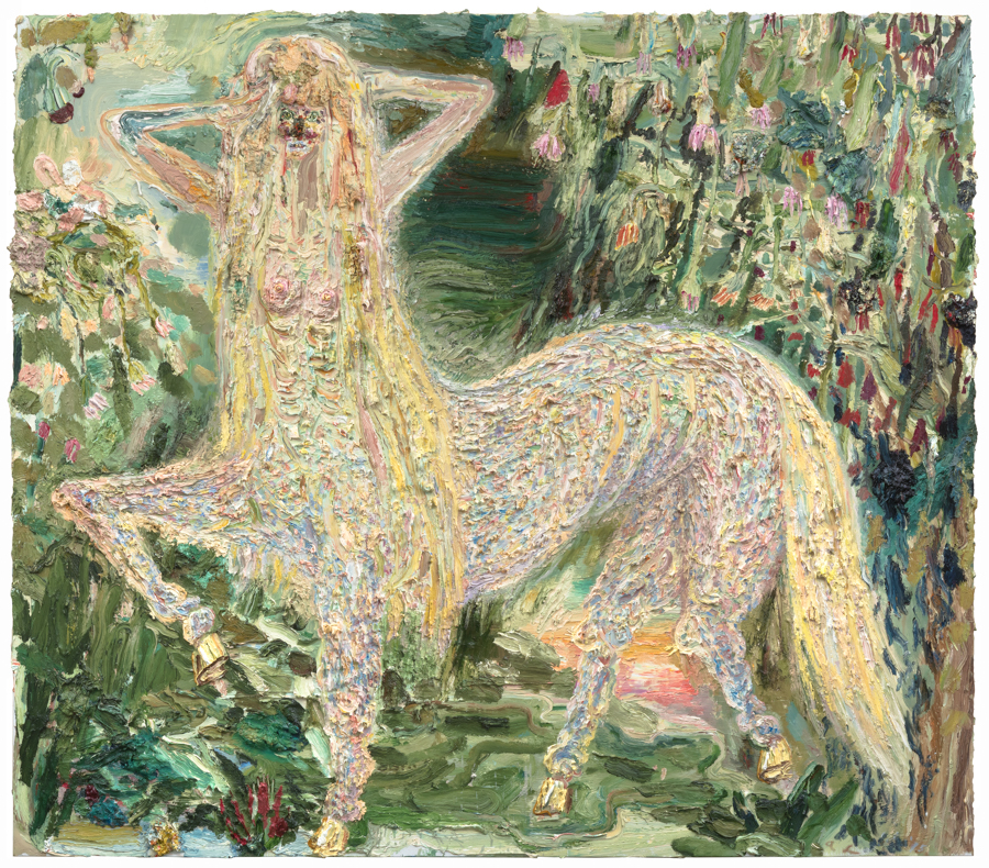 Centaurette in Forest , 2015. Oil on linen, 79 × 90 inches.