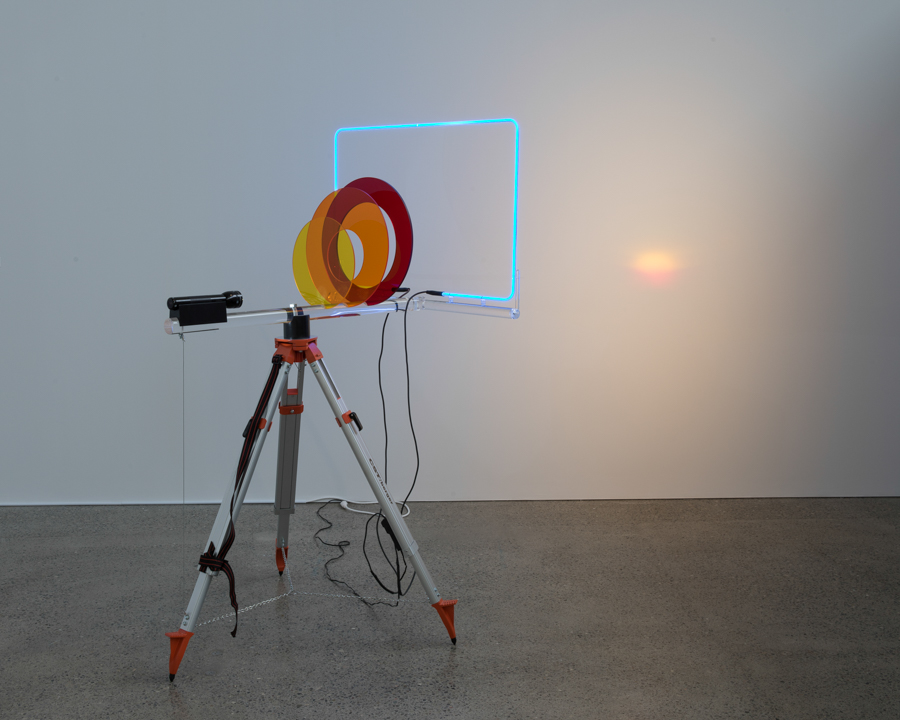 Dream On  2017 surveyors tripod, Plexiglas, painted mahogany, flashlight, neon, extension cord, hardware dimensions variable