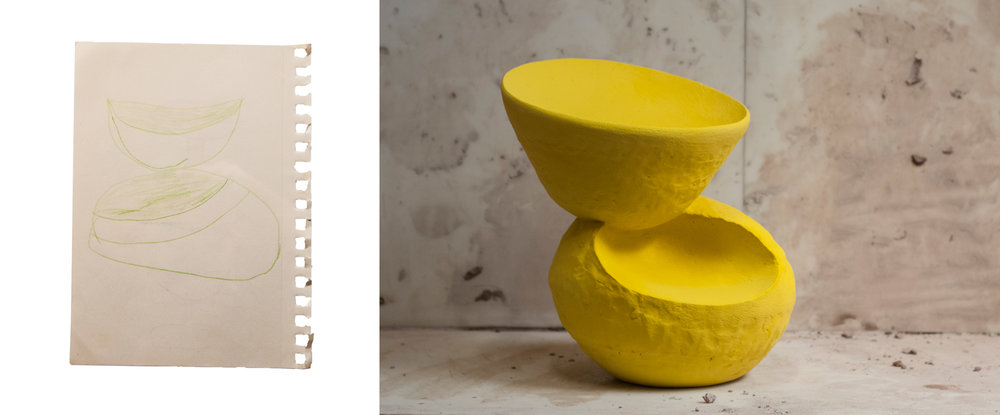 "Yellow Bowl #2  April 2018 Ceramic, underglaze 14""x18""x22"""