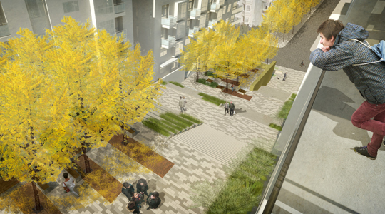 A rendered view from one of the new apartment's balconies looking into Waller Park.