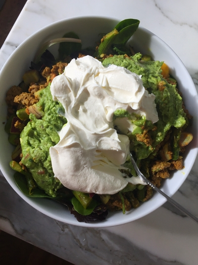 This is a picture of my lunch from day one. Grass fed beef with a ton of veggies, guacamole and some full fat greek yogurt.