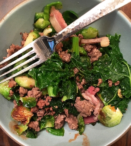 Sunday's lunch :: grass-fed beef, bacon, brussel sprouts and kale with a little hot sauce. I also added avocado but had already eaten all of it when I took the photo :)