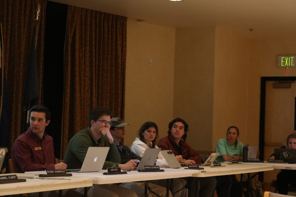 Members of CUSG discuss the chancellor's decision to reduce their budget and oversight of campus in an emergency Legislative Council meeting on April 4, 2018. (Lucy Haggard/CU Independent)