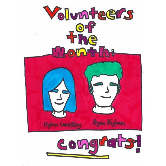 Congrats to our most active volunteers of September 🎉🎈💫 thanks for everything you both do for 1190!! (sick portraits done by our multi-talented volunteer coordinator @jakehavoc)