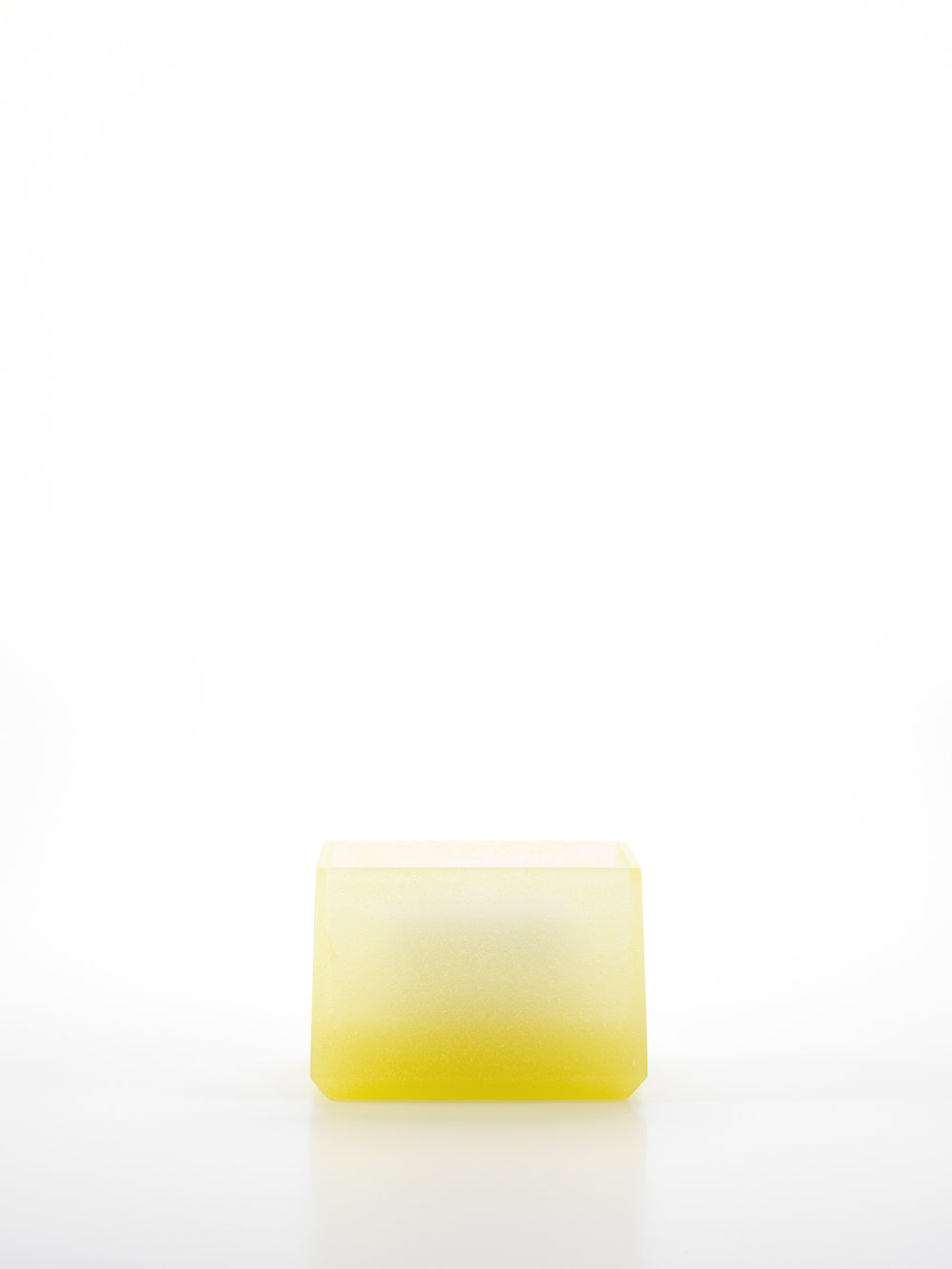 Andrea Walsh   Contained Box  Yellow Frit Glass and Fine Bone China 6.5cm x 10.25 x 7.5cm Photo: Shannon Tofts