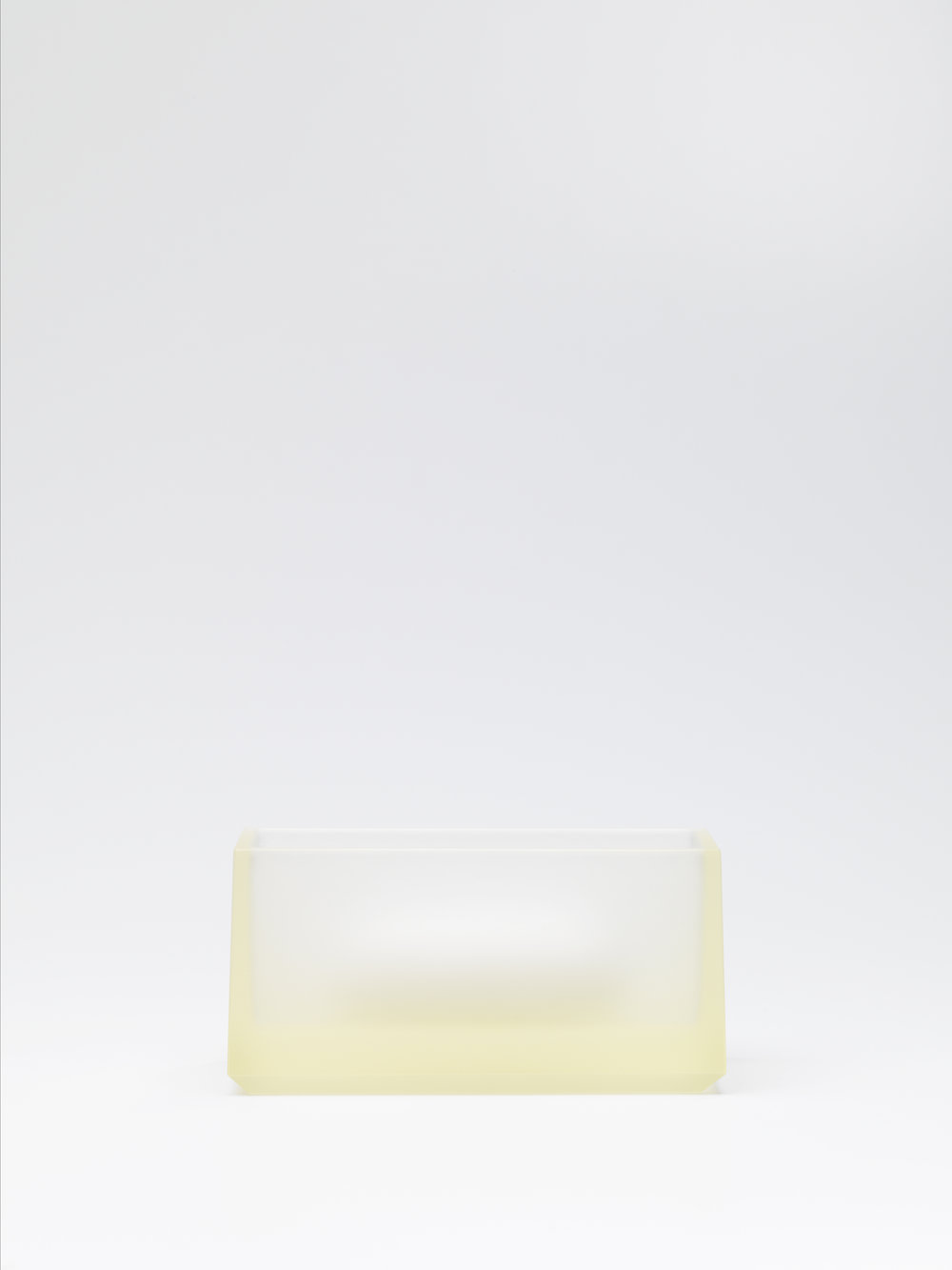 Andrea Walsh   Contained Box  Pale Yellow Glass and Fine Bone China 6cm x 13cm x 6.5cm Photo: Shannon Tofts