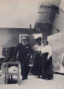 Claude Monet (1840-1926), in his third studio constructed for painting his Water Lilies, Giverny