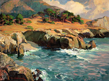 "Franz Anton Bischoff (1864-1929), Carmel Rocks at Sunset; o/c, 30"" x 40"", Paul and Kathleen Bagley Collection"