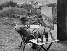 Sir Winston Churchill painting on location.