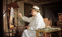 Sir Winston Churchill painting at his easel, February 1946, Miami Beach