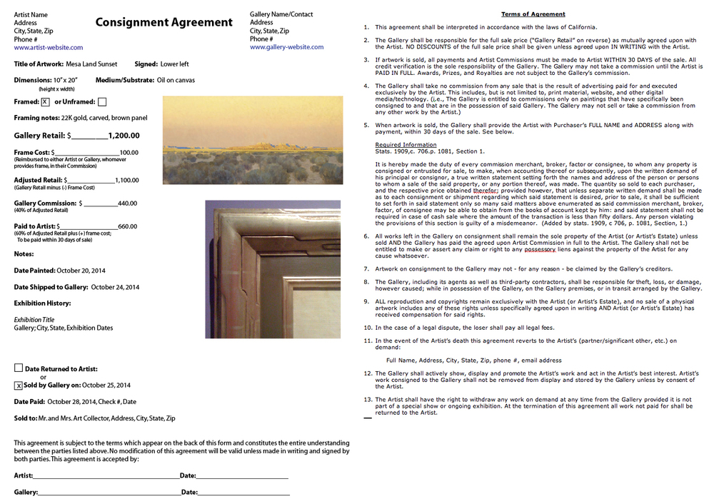 Example of a Gallery Consignment Form