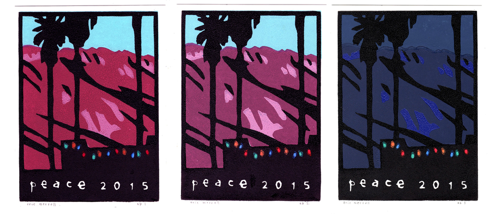 "The three versions of ""Peace,"" 2015, 8"" x 6"", limited edition of 125. © Eric Merrell"