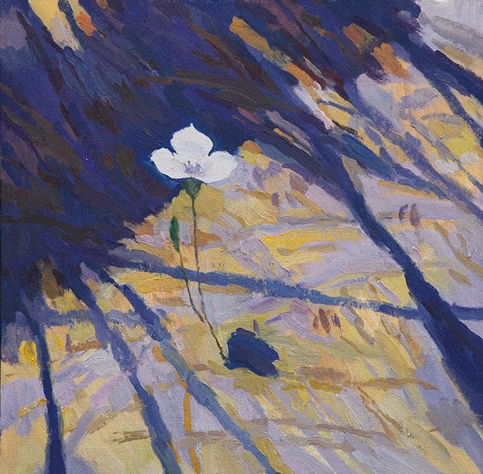 Mariposa Lily Below a Pine, 12x12