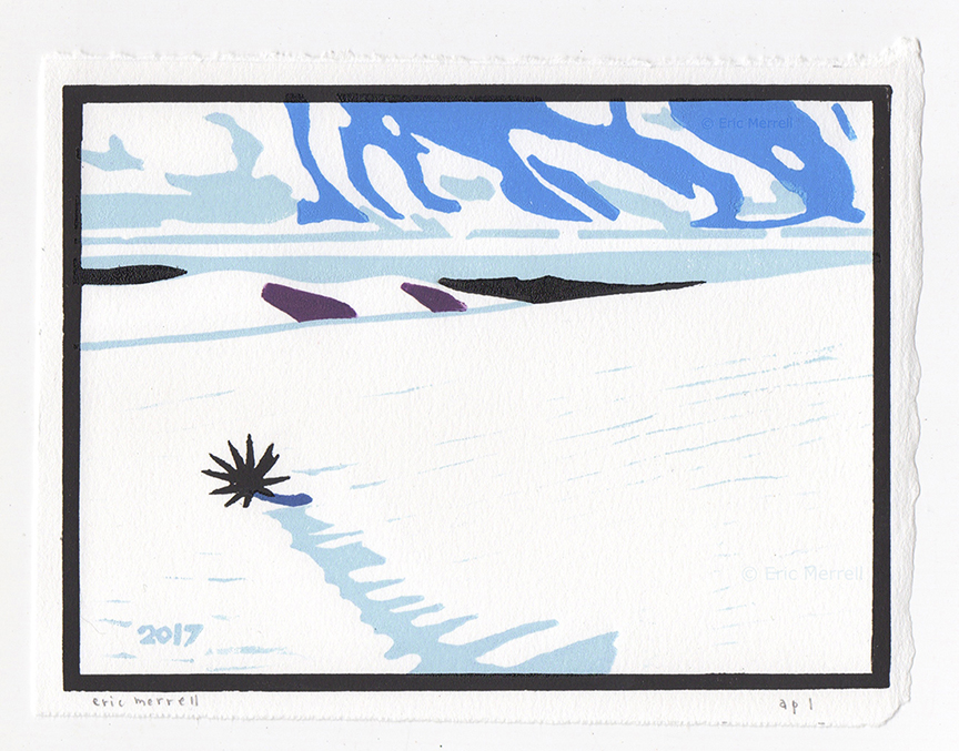 "Slopes of Distant Wind  (White Sands, 2017) Linocut Image size 5.5"" x 7.5"", printed on Rives BFK paper Edition of 150 [Out of print]"