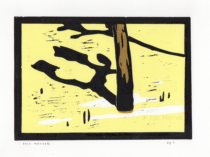 A Bright Sun Warms the Sand  (Joshua Tree) Linocut Image size 4.5 x 6.5, printed on Rives BFK paper Limited edition of 70 — P urchase  —